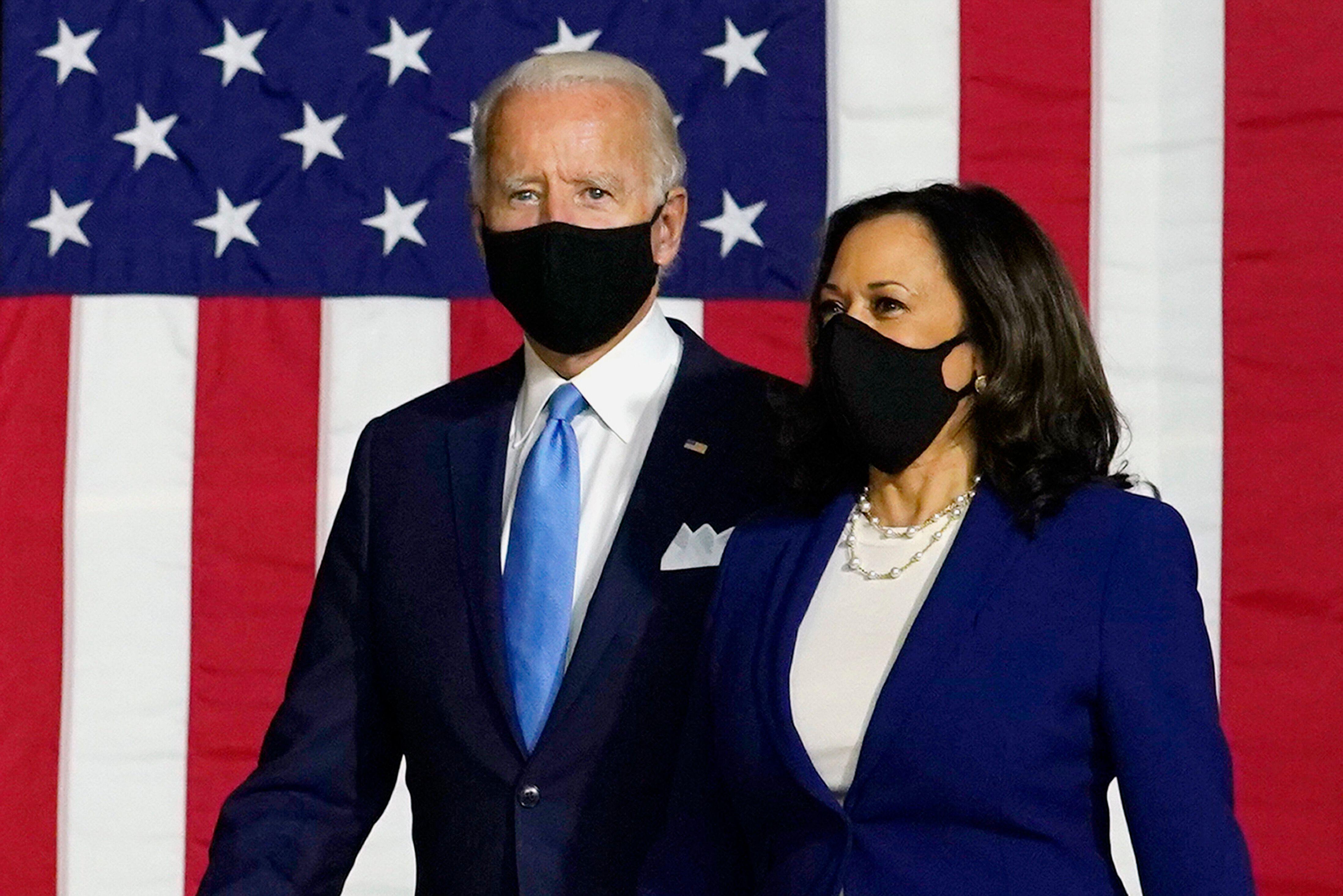 Presumptive Democratic presidential candidate Joe Biden and his running mate Sen. Kamala Harris appear together on Aug. 12 fo