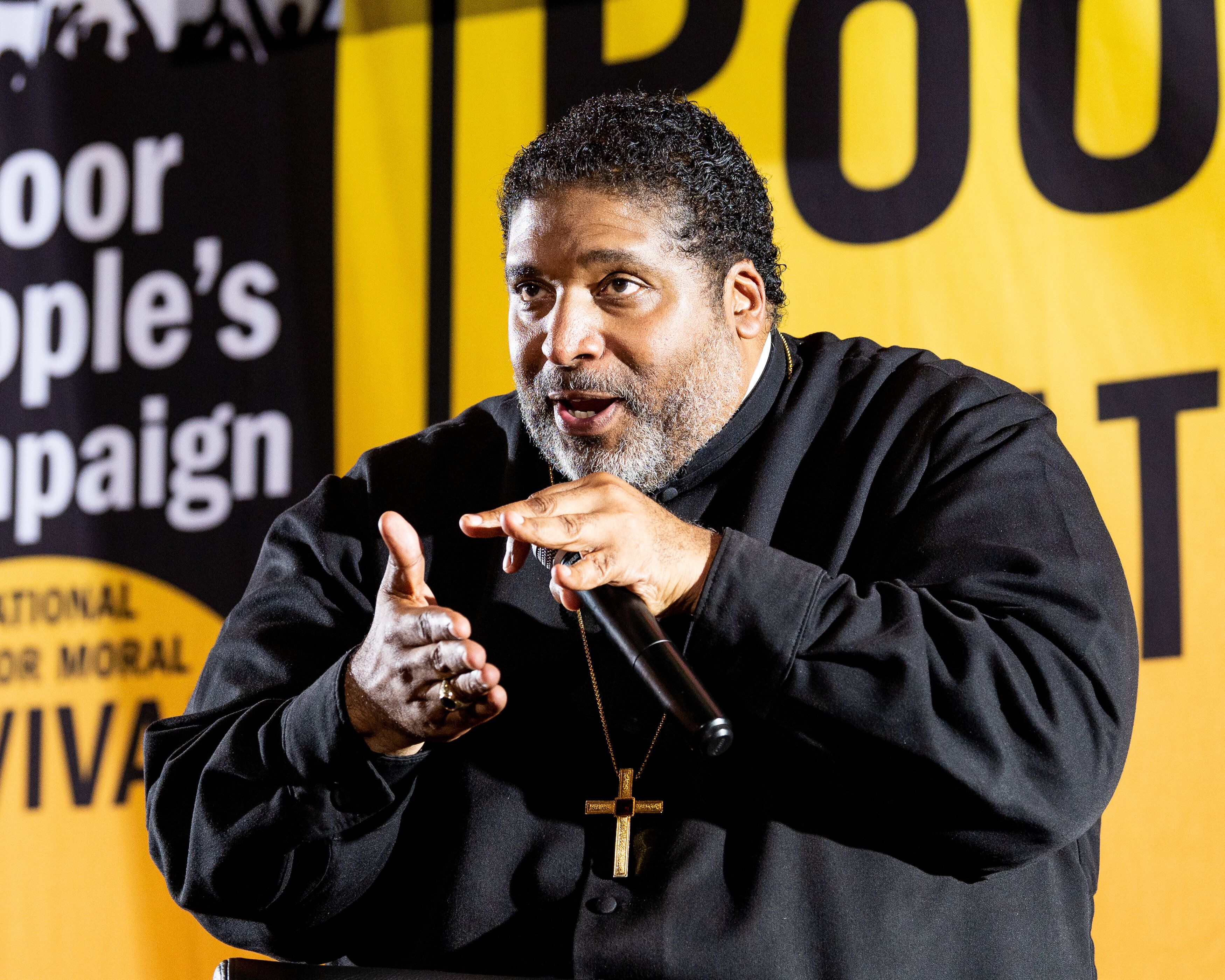 Rev. William J. Barber II speaks at a Poor People's Campaign event in Washington, DC on June 17, 2019.
