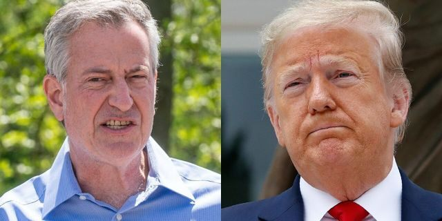 New York City's Democratic mayor, Bill de Blasio, left, was a target of a blistering editorial about the Big Apple that President Trump retweeted Friday.