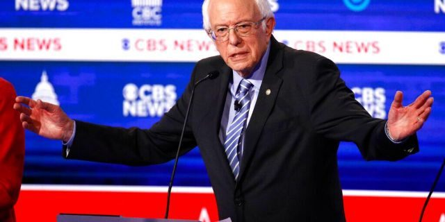 Sen. Bernie Sanders, I-Vt., speaks during a Democratic presidential primary debate at the Gaillard Center, Feb. 25, 2020, in Charleston, S.C. (AP Photo/Patrick Semansky)