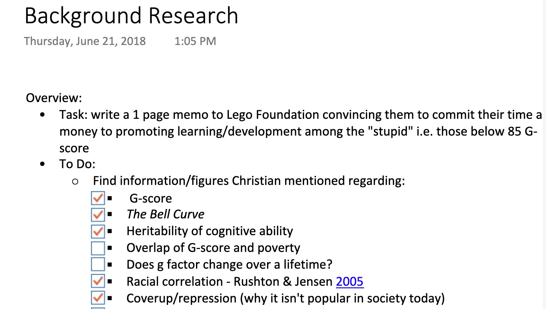 Notes prepared by a Red Associates consultant for a project on intelligence.
