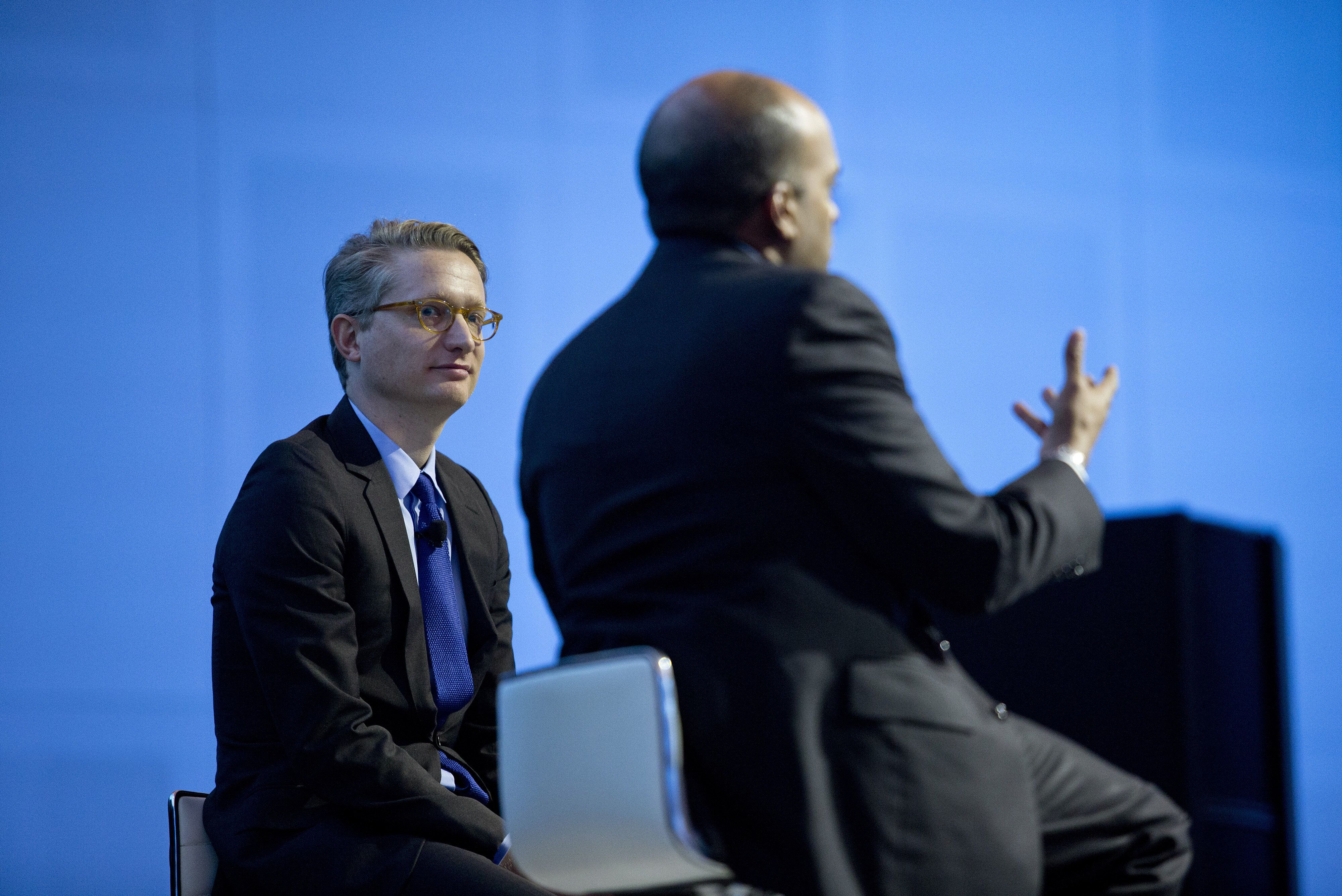 In this 2015 photo,Christian Madsbjerg of Red Associates (left) listens to Raj Nair, executive vice president and chief