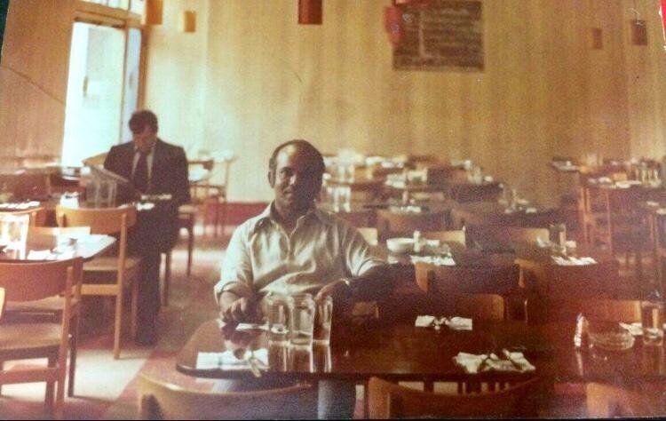 Mahaboob Narangoli's father Usman Abubakar in the 1970s at the Halal Restaurant near Brick Lane.