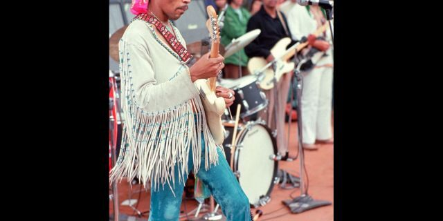 Henry Diltz's photograph of Jimi Hendrix at the original Woodstock festival in August 1969. (PRNewsFoto)