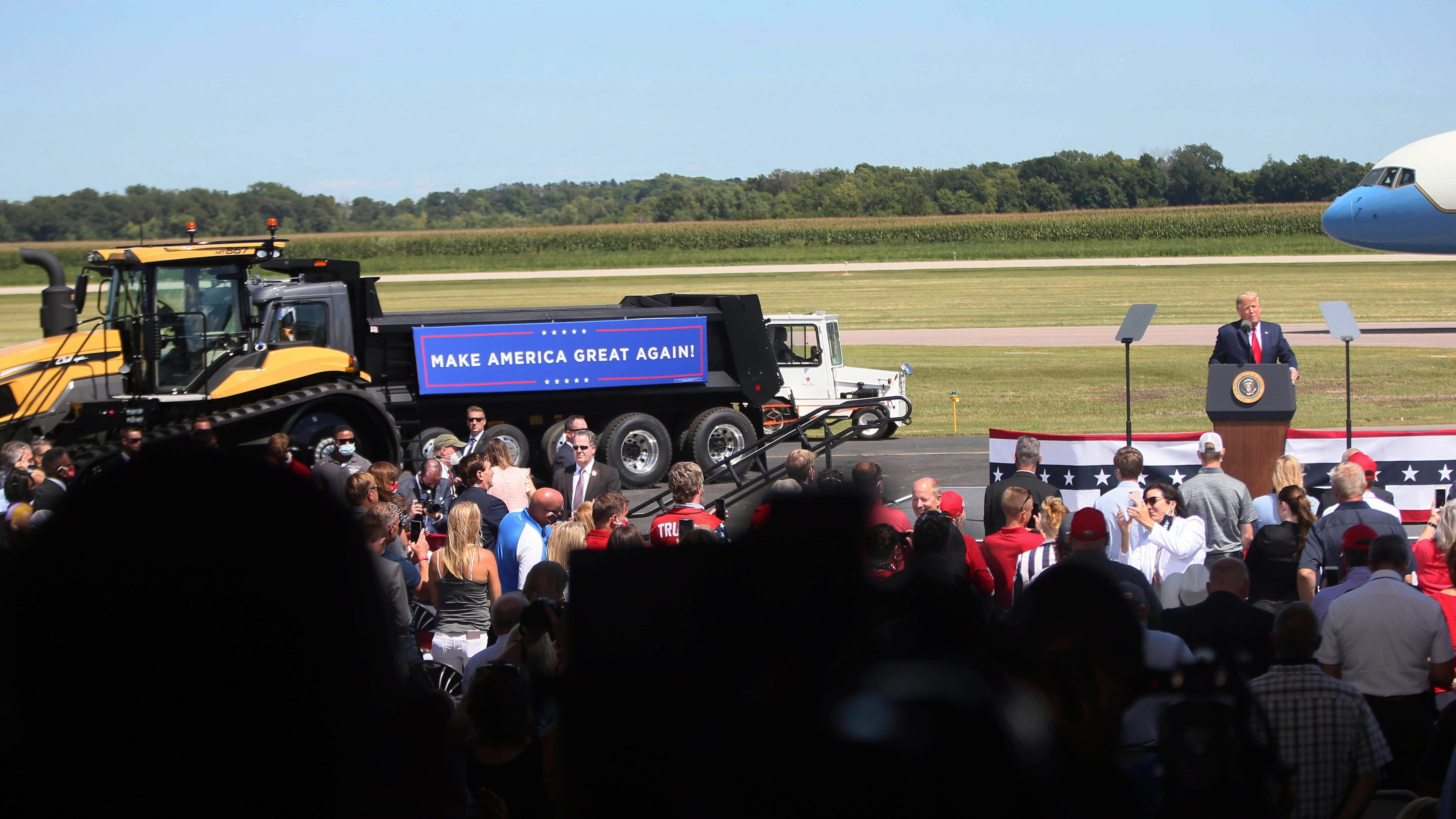 President Donald Trump speaks at a campaign stop at North Star Aviation in Mankato, Minnesota, on Aug. 17, 2020.