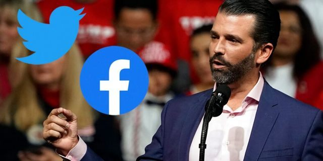 """Donald Trump Jr. said Twitter and Facebook have """"been engaging in a seemingly coordinated campaign to stifle and suppress right of center voices."""" (AP Photo/Evan Vucci)"""
