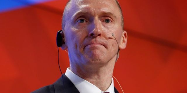 One-time advisor of U.S. president-elect Donald Trump Carter Page addresses the audience during a presentation in Moscow.