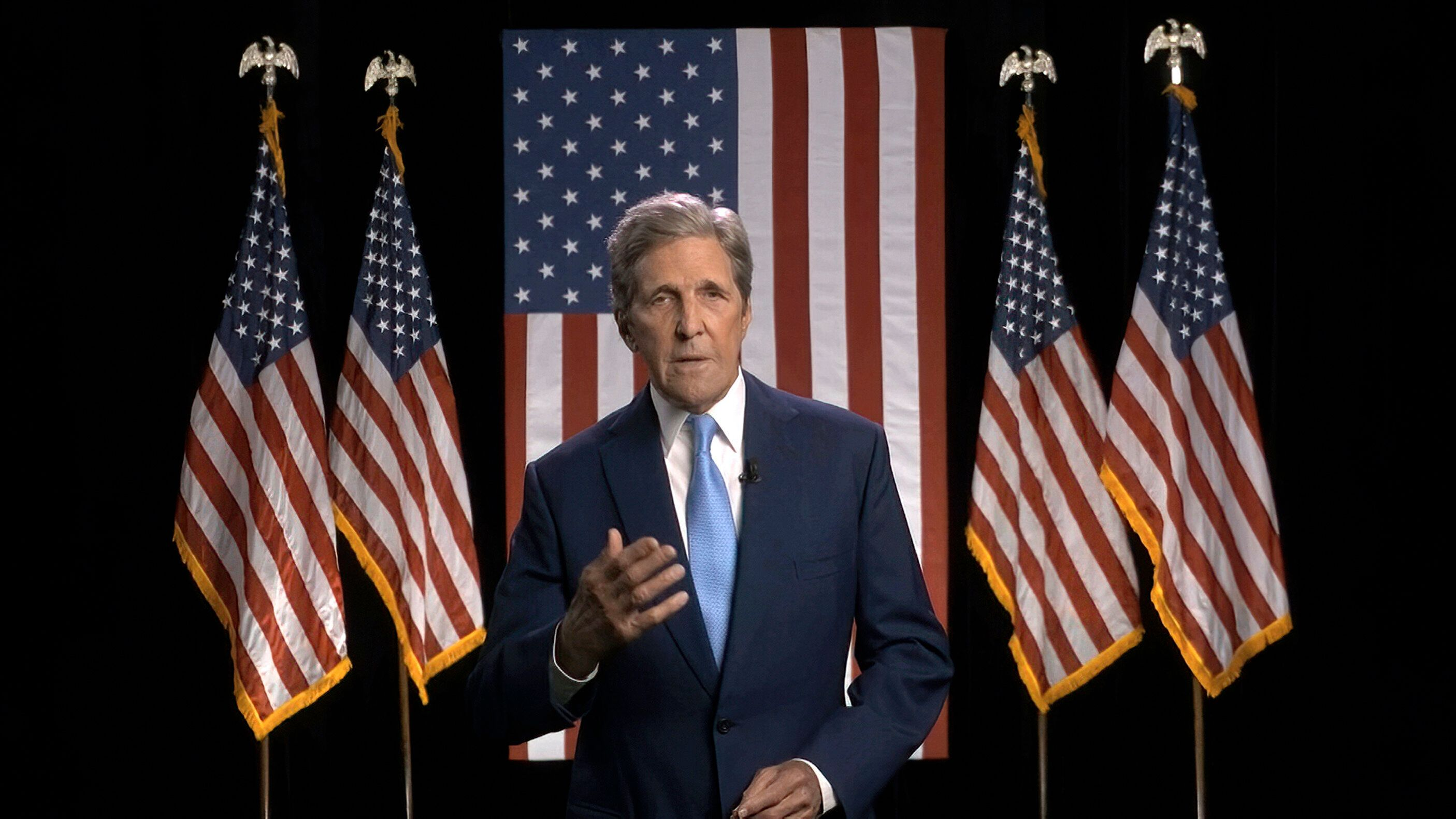 Former Secretary of State John Kerry speaks via video during the second night of the Democratic National Convention on Tuesda