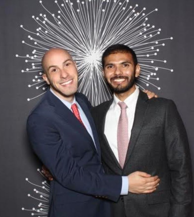 The author (right) with his partner, Eric, at a friend's wedding in New York City.
