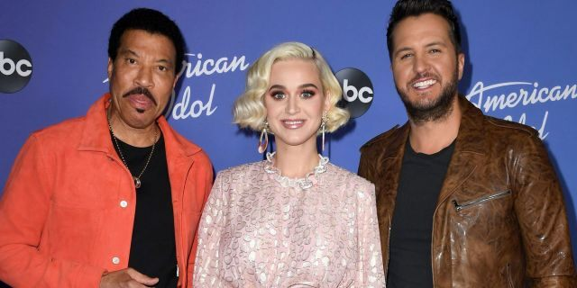 """(L-R) Lionel Richie, Katy Perry and Luke Bryan attend the premiere event for """"American Idol"""" hosted by ABC at Hollywood Roosevelt Hotel on February 12, 2020 in Hollywood, California."""
