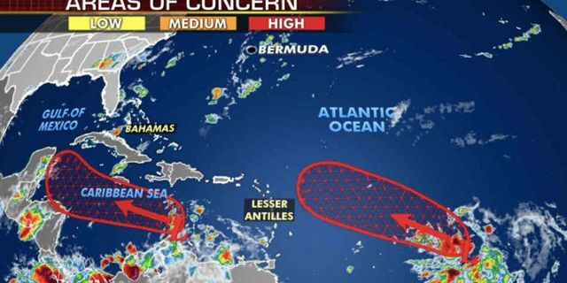Forecasters are monitoring two areas with a high potential for development across the Atlantic basin.