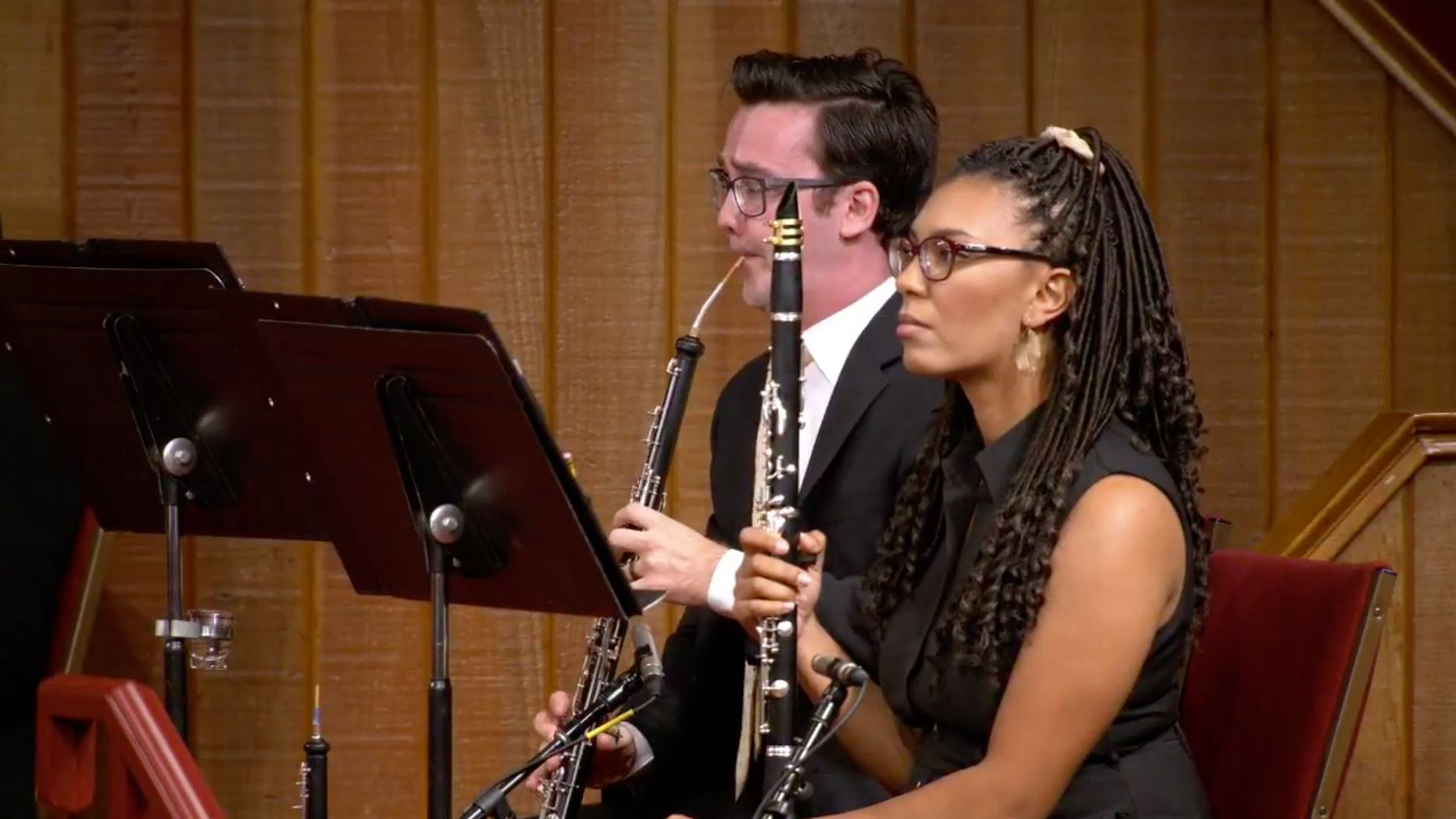 Musicians play instruments at an Aug. 16 worship service at Grace Community Church.