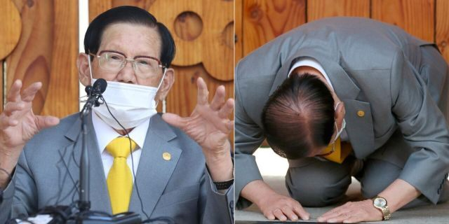 """Lee Man-hee, a leader of Shincheonji Church of Jesus, bows during the press conference in Gapyeong, South Korea, Monday, March 2, 2020. In the hastily arranged news conference Lee, the 88-year-old leader of a religious sect which has the country's largest cluster of infections, bowed down on the ground twice and apologized for causing the """"unintentional"""" spread of the disease. (Kim Ju-sung/Yonhap via AP)"""