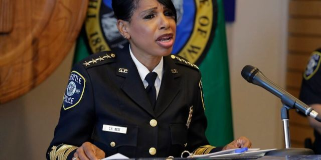 Seattle Police Chief Carmen Best speaks during a news conference on Aug. 11. (AP Photo/Ted S. Warren)
