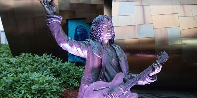 A life-sized statue of Soundgarden singer Chris Cornell donated by Vicky Cornell is unveiled to the public at MoPop on October 7, 2018 in Seattle, Washington.