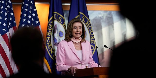 House Speaker Nancy Pelosi, D-Calif., speaks during a news conference on Capitol Hill in Washington, Aug. 22. The House is set for a rare Saturday session to pass legislation to halt changes in the Postal Service and provide $25 billion in emergency funds. (Associated Press)