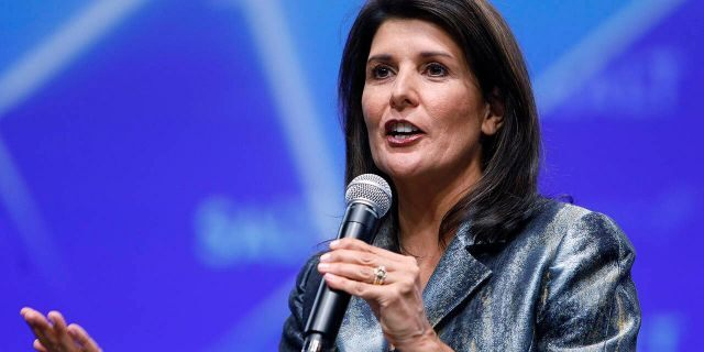 Nikki Haley, former U.S. ambassador to the United Nations (UN), speaks during the Skybridge Alternatives (SALT) conference in Las Vegas, Nevada, U.S., on Thursday, May 9, 2019. Photographer: Joe Buglewicz/Bloomberg via Getty Images