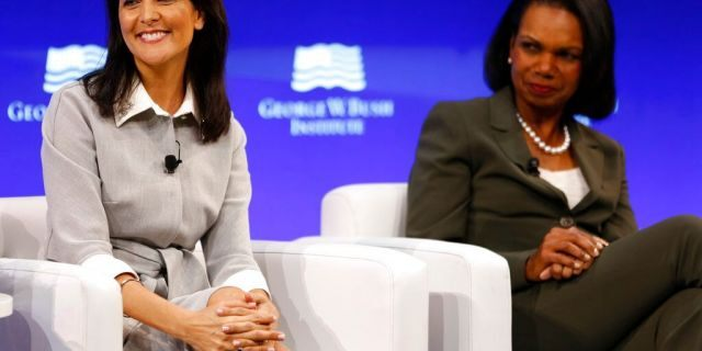 Haley and former U.S. Secretary of State Condoleeza Rice participate in a panel discussion at a forum sponsored by the George W. Bush Institute in New York, Oct. 19, 2017. (AP Photo/Seth Wenig)