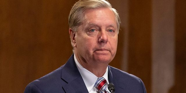 Senate Judiciary Chairman Lindsey Graham, R-S.C., speaks at a news conference. (Photo by Anna Moneymaker/Getty Images)