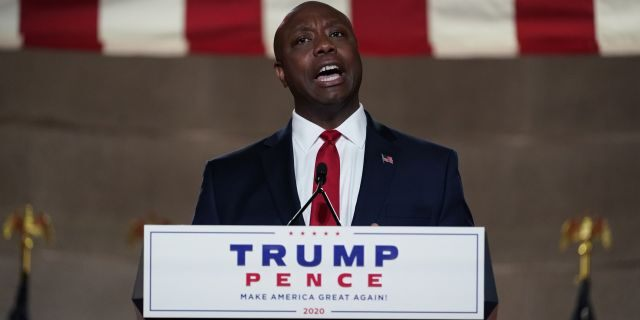 Sen. Tim Scott, R-S.C., speaks at the Andrew W. Mellon Auditorium in Washington on night one of the Republican National Convention. (AP Photo/Susan Walsh)