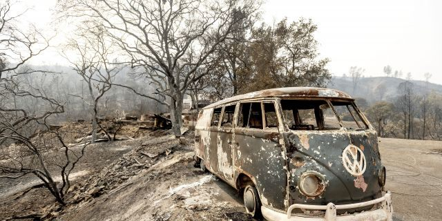 Following the LNU Lightning Complex fire, a scorched VW Microbus rests in a driveway of the Spanish Flat community in Napa County, Calif., on Monday. (AP)