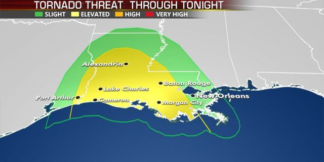 The tornado threat through late Wednesday due to Hurricane Laura.