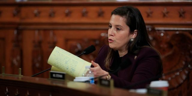 Rep. Elise Stefanik, R-N.Y., questions former White House national security aide Fiona Hill and David Holmes, a U.S. diplomat in Ukraine, as they testify before the House Intelligence Committee. (Associated Press)