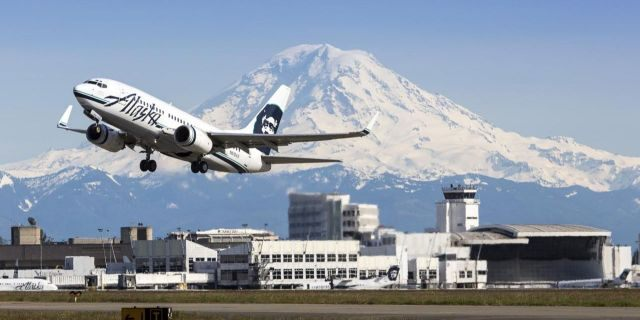 Alaska Airlines has been requiring all passengers to wear face masks as one of its coronavirus safety precautions. (Don Wilson/Port of Seattle)