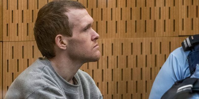 Australian Brenton Harrison Tarrant, 29, sits in the dock on day three at the Christchurch High Court for sentencing after pleading guilty to 51 counts of murder, 40 counts of attempted murder and one count of terrorism in Christchurch, New Zealand, Wednesday, Aug. 26, 2020. (John Kirk-Anderson/Pool Photo via AP)<br>
