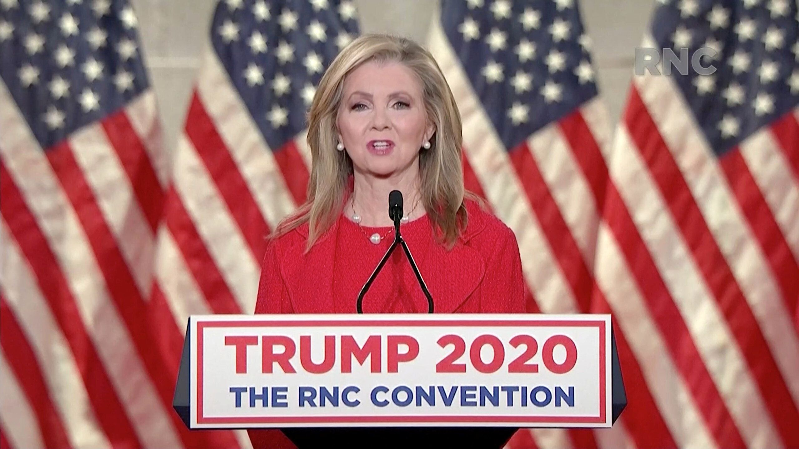 Sen. Marsha Blackburn (R-Tenn.) speaks during the largely virtual 2020 Republican National Convention on Wednesday night. She