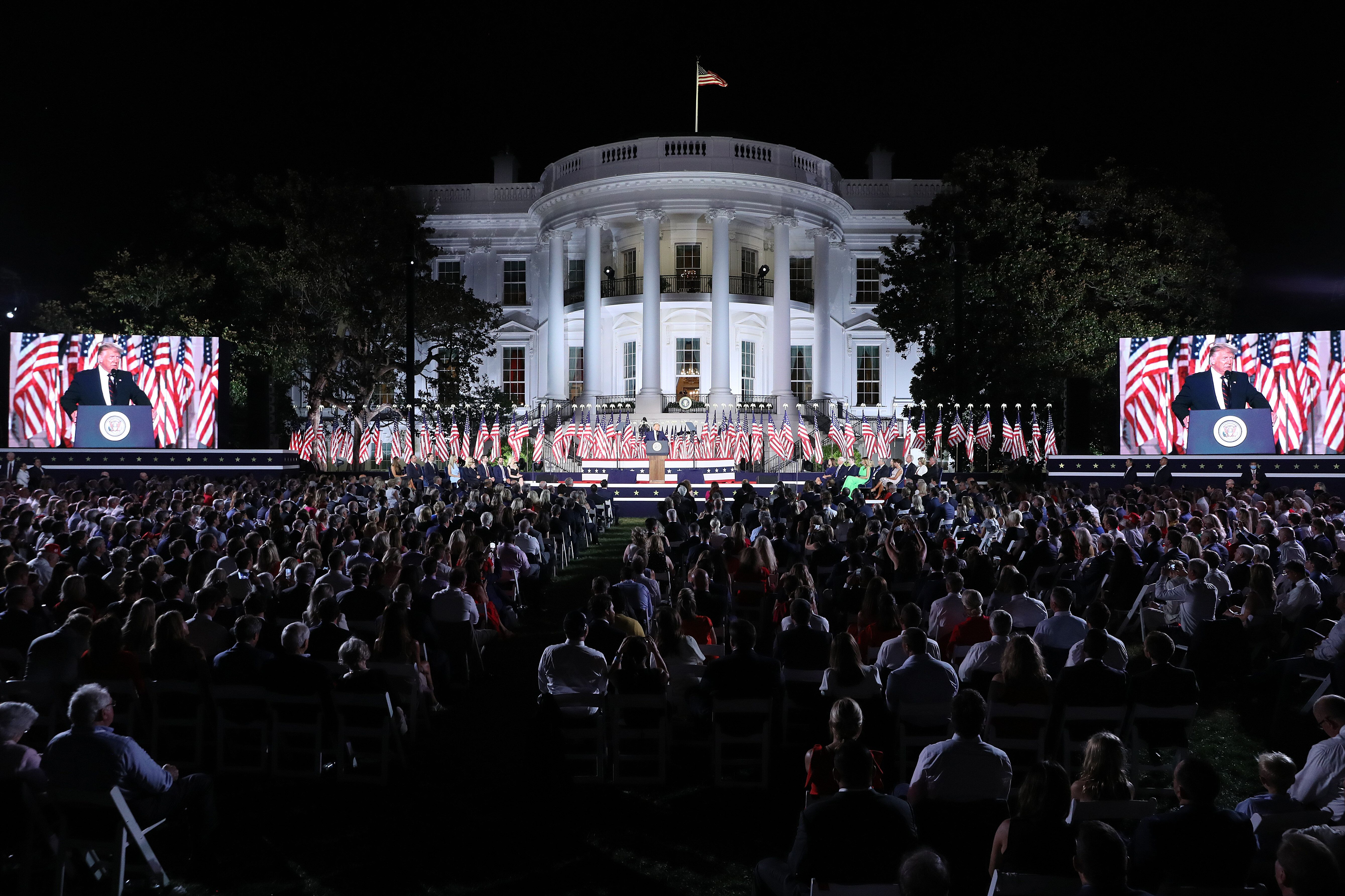 President Donald Trump delivers his acceptance speech for the Republican presidential nomination on the South Lawn of the Whi