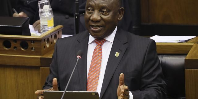 In this Thursday, Feb. 13, 2020 file photo, South African President Cyril Ramaphosa delivers his State of the Nation Address in Cape Town, South Africa. (Sumaya Hisham/Pool Photo via AP, File)