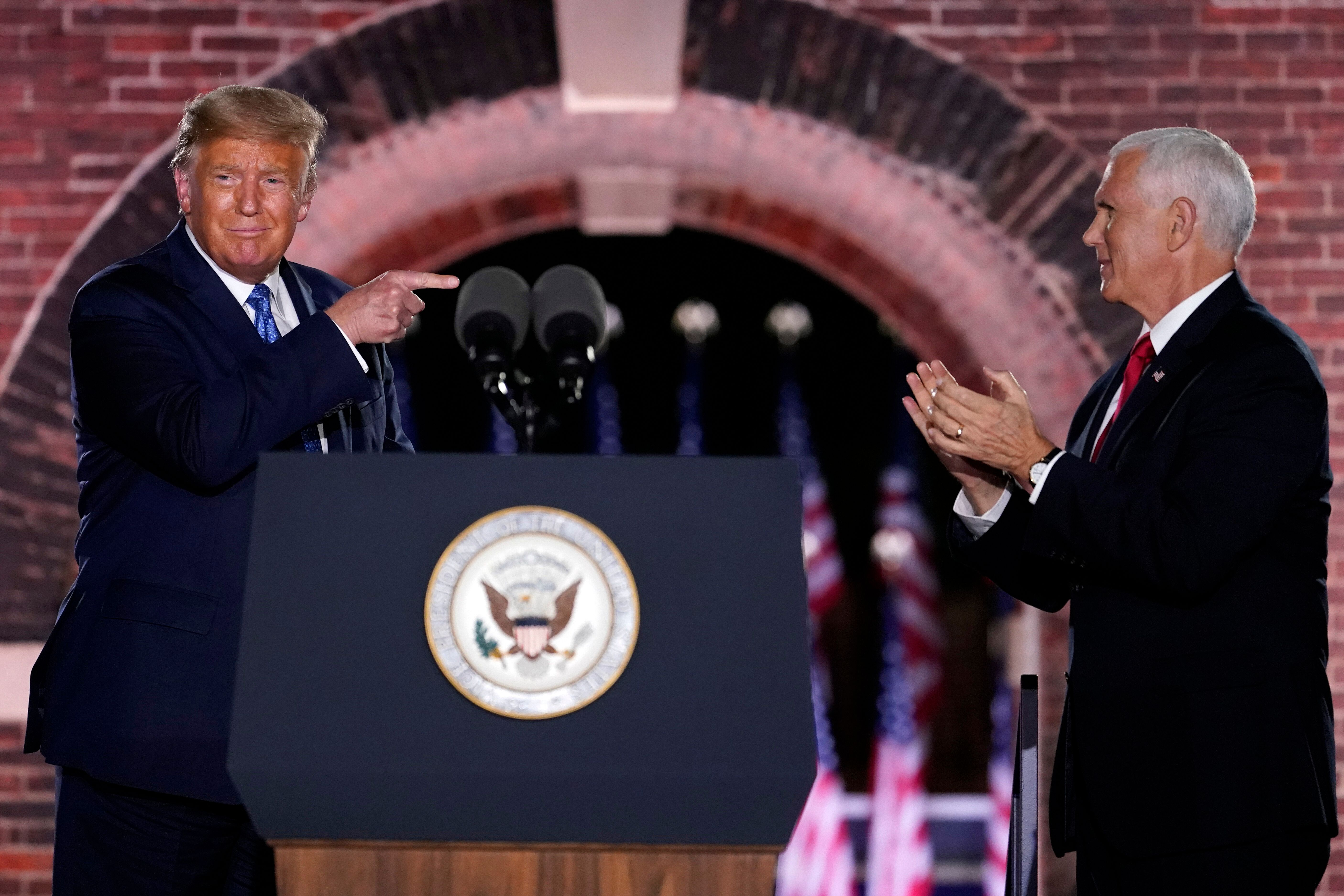 President Donald Trump joins Vice President Mike Pence on stage at the Republican National Convention in Baltimore on Wednesd