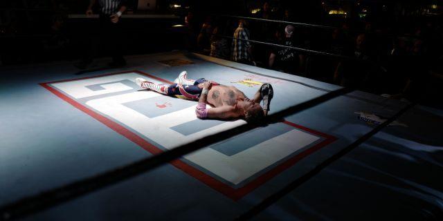 David Arquette in the wrestling ring.