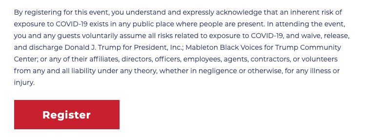 The liability waiver for the Black Voices for Trump event in Mableton, Georgia, on Aug. 28.
