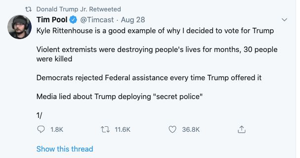Donald Trump Jr. retweets message supporting Kyle Rittenhouse, who has been charged in the shooting deaths of two protesters