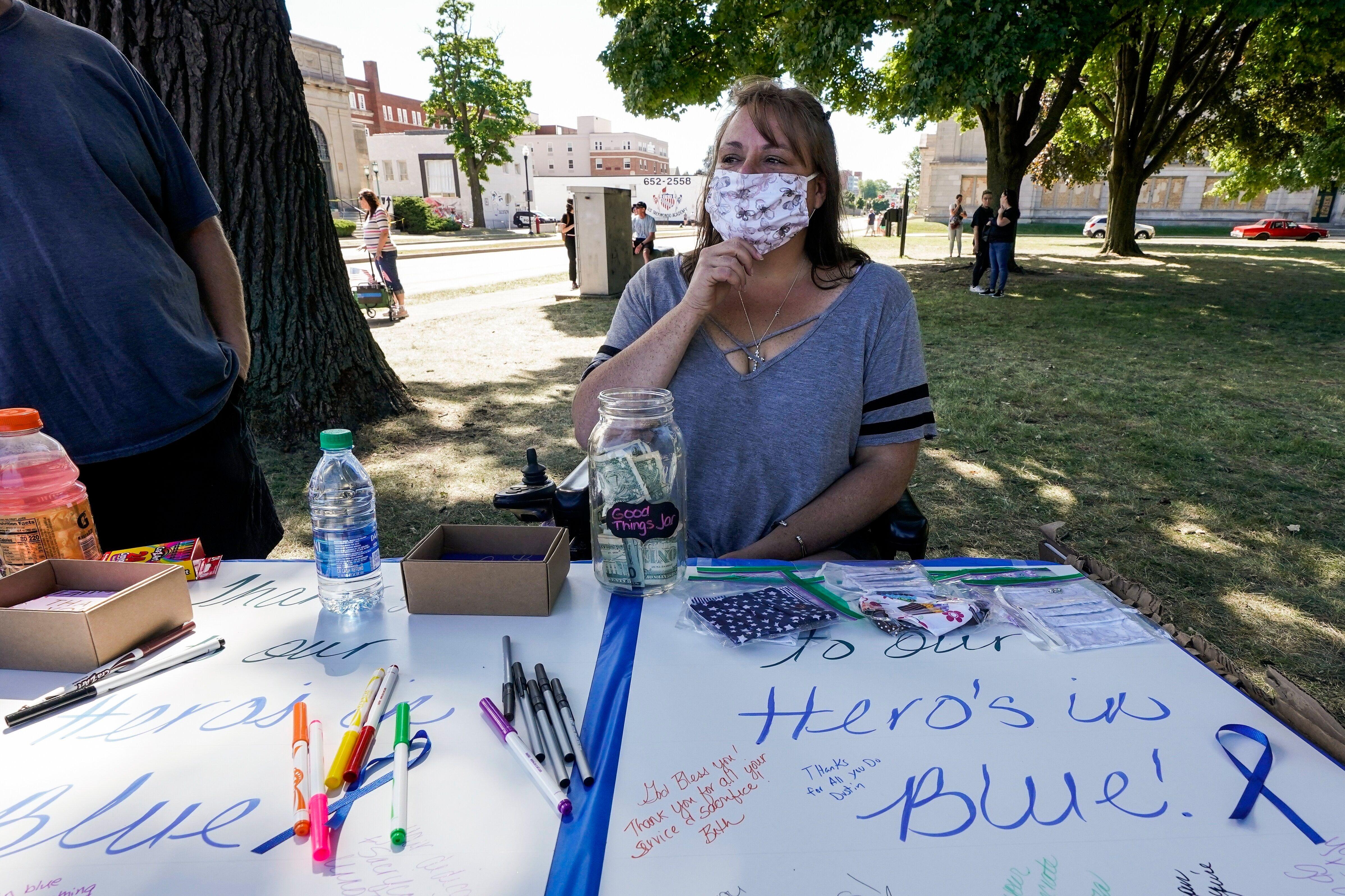 Jennifer Payton participates in a Blue Lives Matter rally Sunday, Aug. 30, 2020, in Kenosha, Wisconsin.