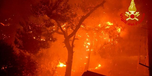 Flames burn trees near the town of Altofonte, near the Sicilian city of Palermo, southern Italy, Saturday, Aug. 29, 2020.