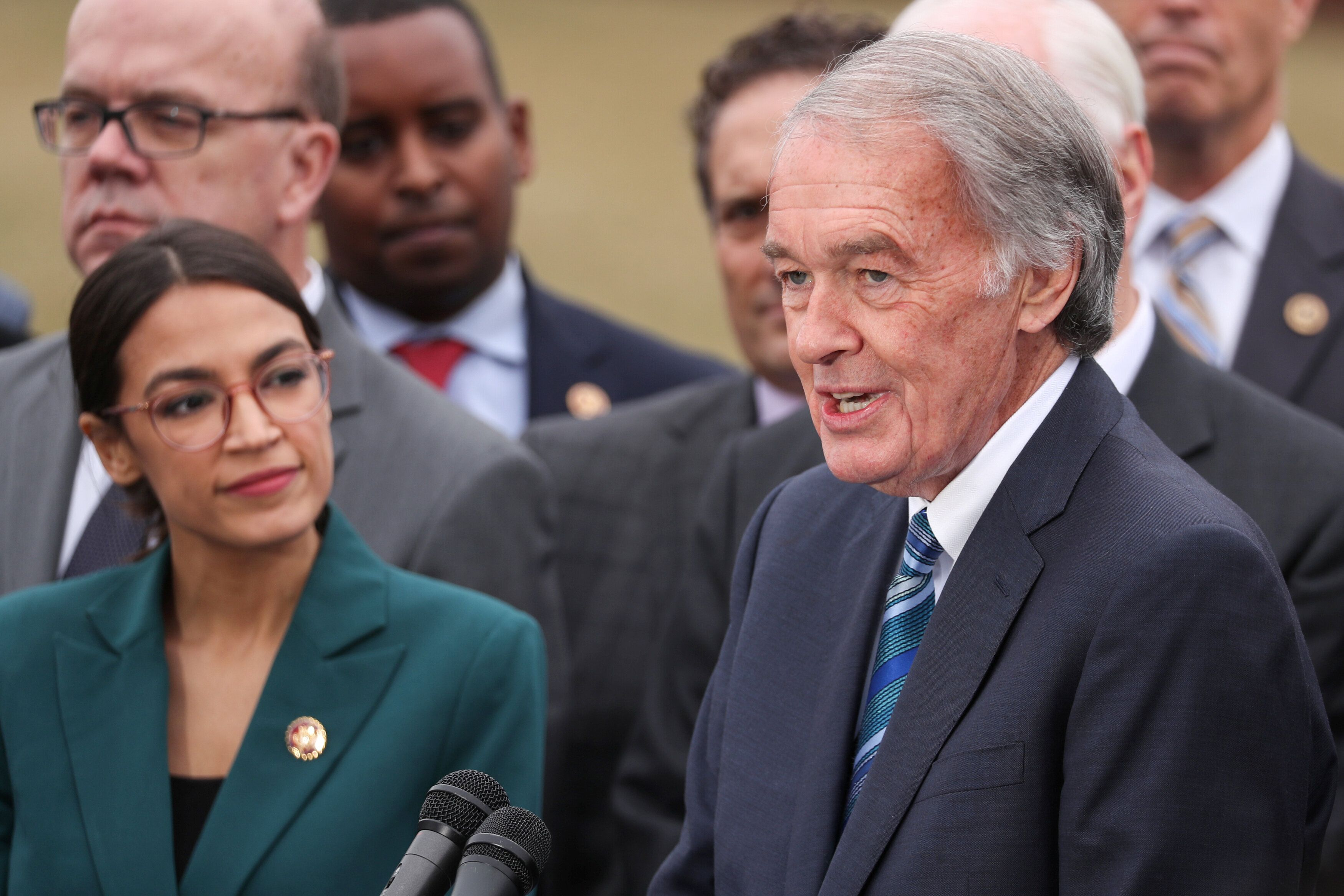Rep. Alexandria Ocasio-Cortez (D-N.Y.) and Markey hold a news conference for their proposed Green New Deal in February 2019.