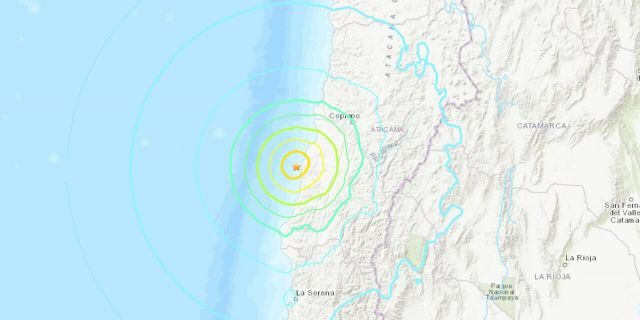 The magnitude 6.8 earthquake struck just after midnight about 48 miles northeast of the Atacama city of Vallenar.
