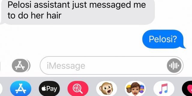 A text message from a hairstylist to Erica Kious, salon owner, that he would open the salon to provide House Speaker Nancy Pelosi services.