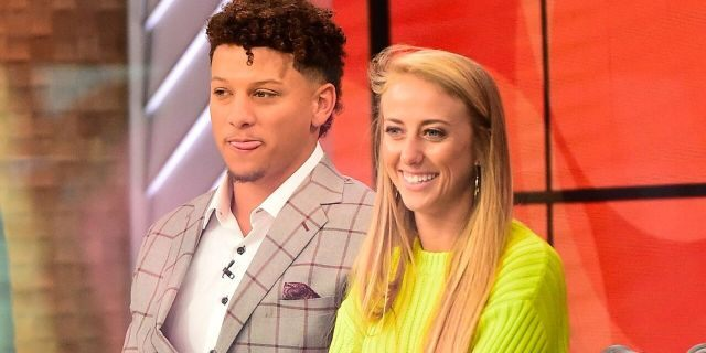 Patrick Mahomes and Brittany Matthews are seen on the set of GMA Day on April 2, 2019 in New York City. (Raymond Hall/GC Images)