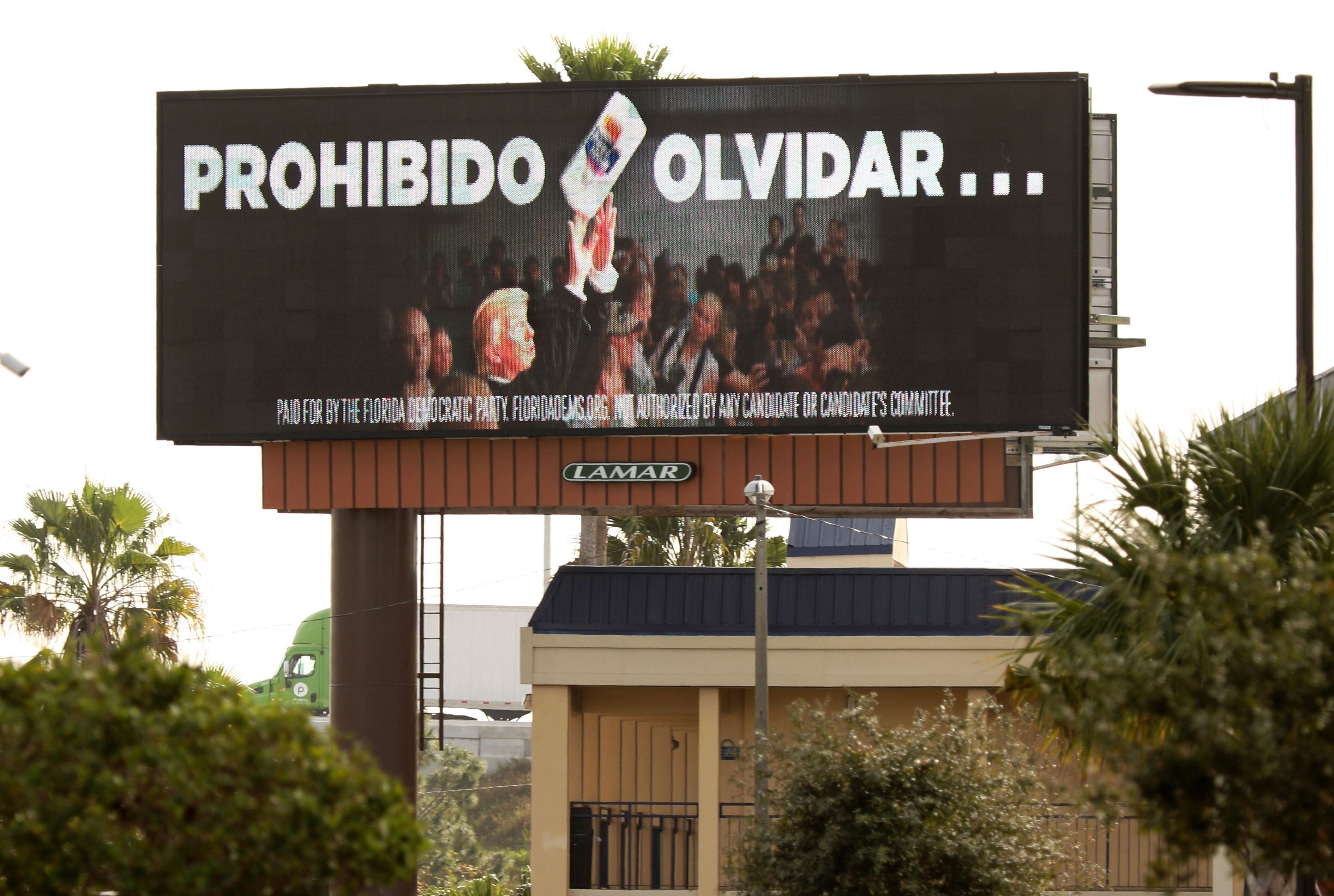 "In January, the Florida Democratic Party purchased a billboard reading ""Never Forget"" in Spanish to remind Puerto Rican voter"