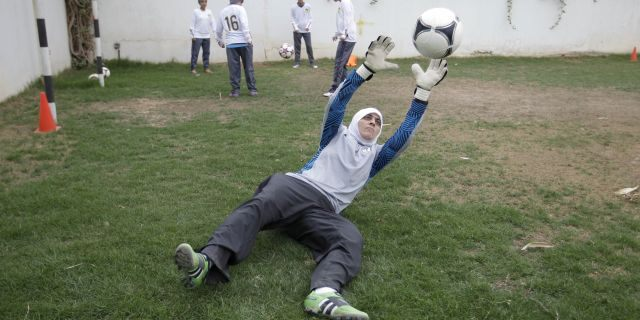 May 21, 2012: Mawada Chaballout, a 27-year-old American member of a Saudi female soccer team practices at a secret location in Riyadh, Saudi Arabia. Saudi Arabia's official press agency says the Education Ministry has allowed private female schools to hold sports activities within the Islamic Sharia laws. SPA said Saturday, May 4, 2013 that the ministry issued directives ordering private female schools to provide appropriate places and equipment for such activities, adhere to wearing decent dress and that Saudi women teachers should be given priority in supervising these activities.(AP Photo/Hassan Ammar)