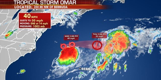 The forecast track of Tropical Storm Omar.