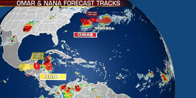 Nana and Omar, two tropical storms, can be seen with their respective forecast tracks.