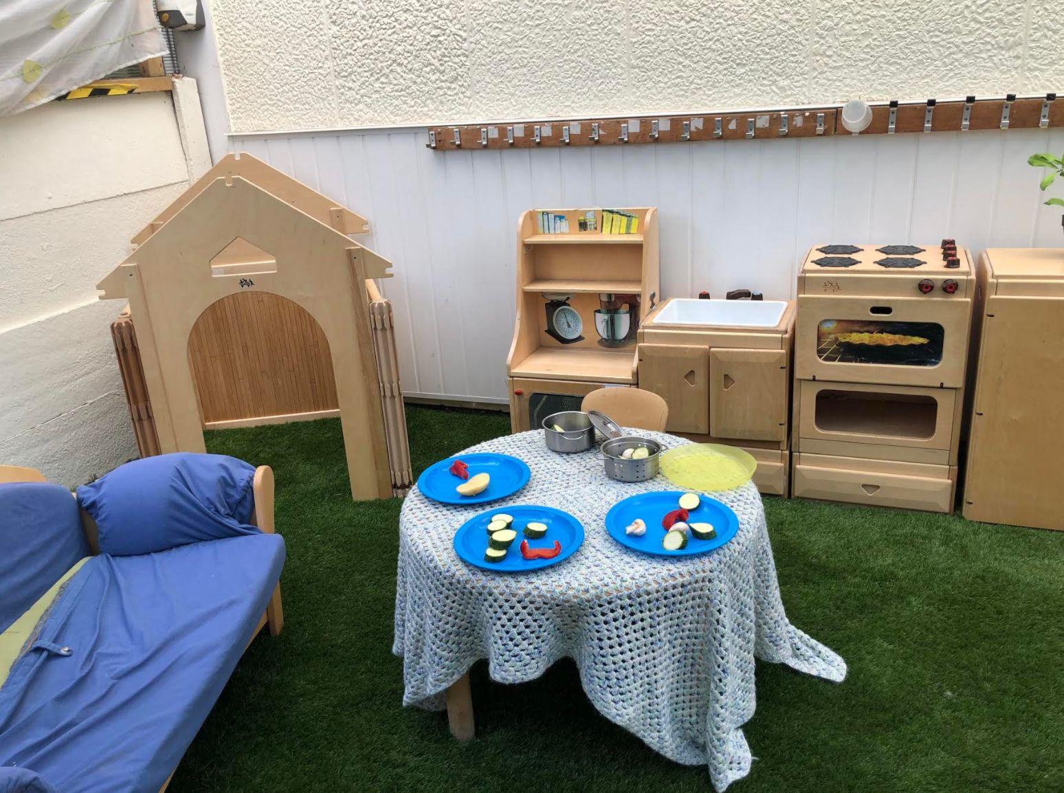 A play kitchen at Eastbury Nursery.
