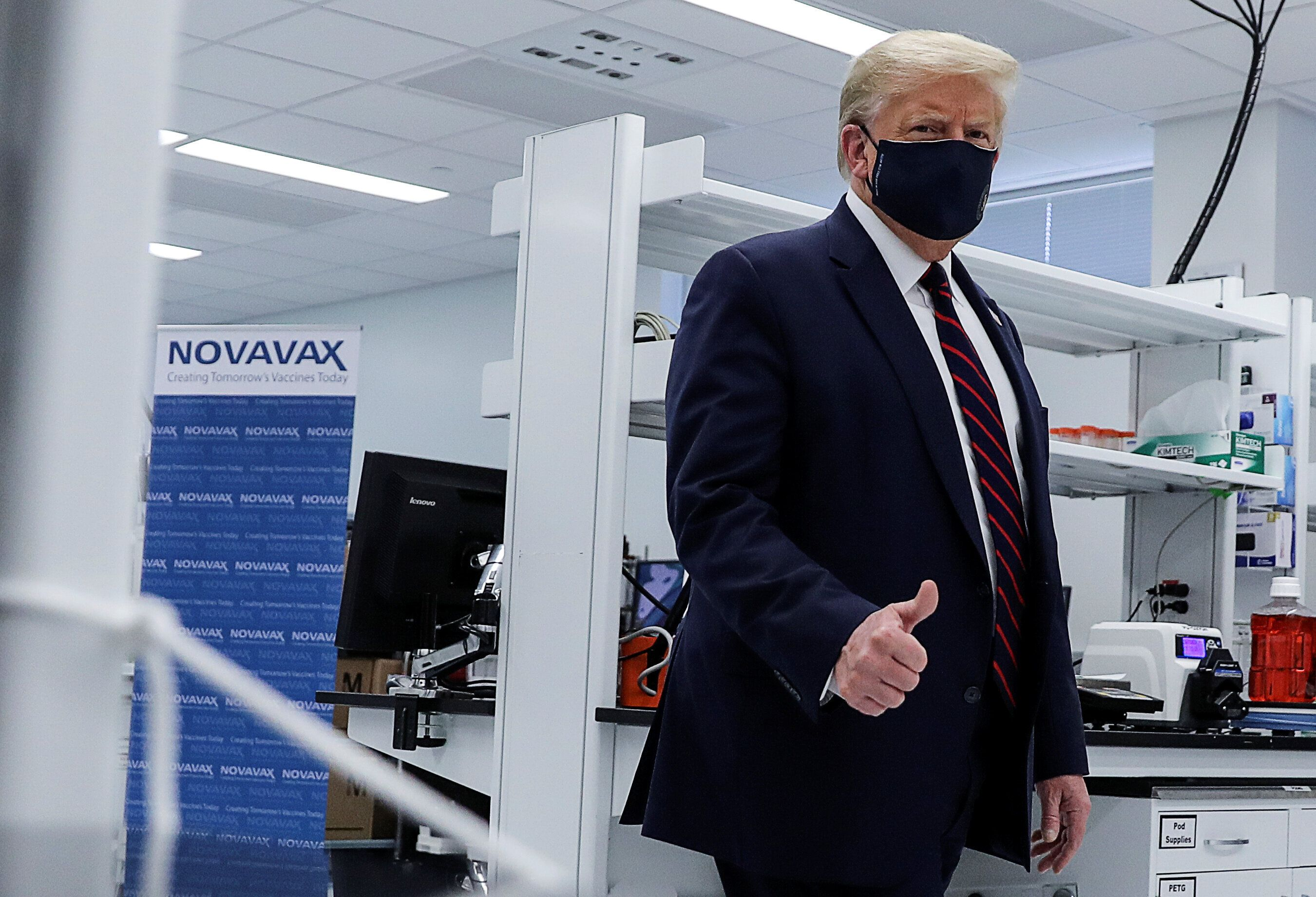 President Donald Trump tours a pharmaceutical manufacturing plant where components for a potential coronavirus vaccine are be