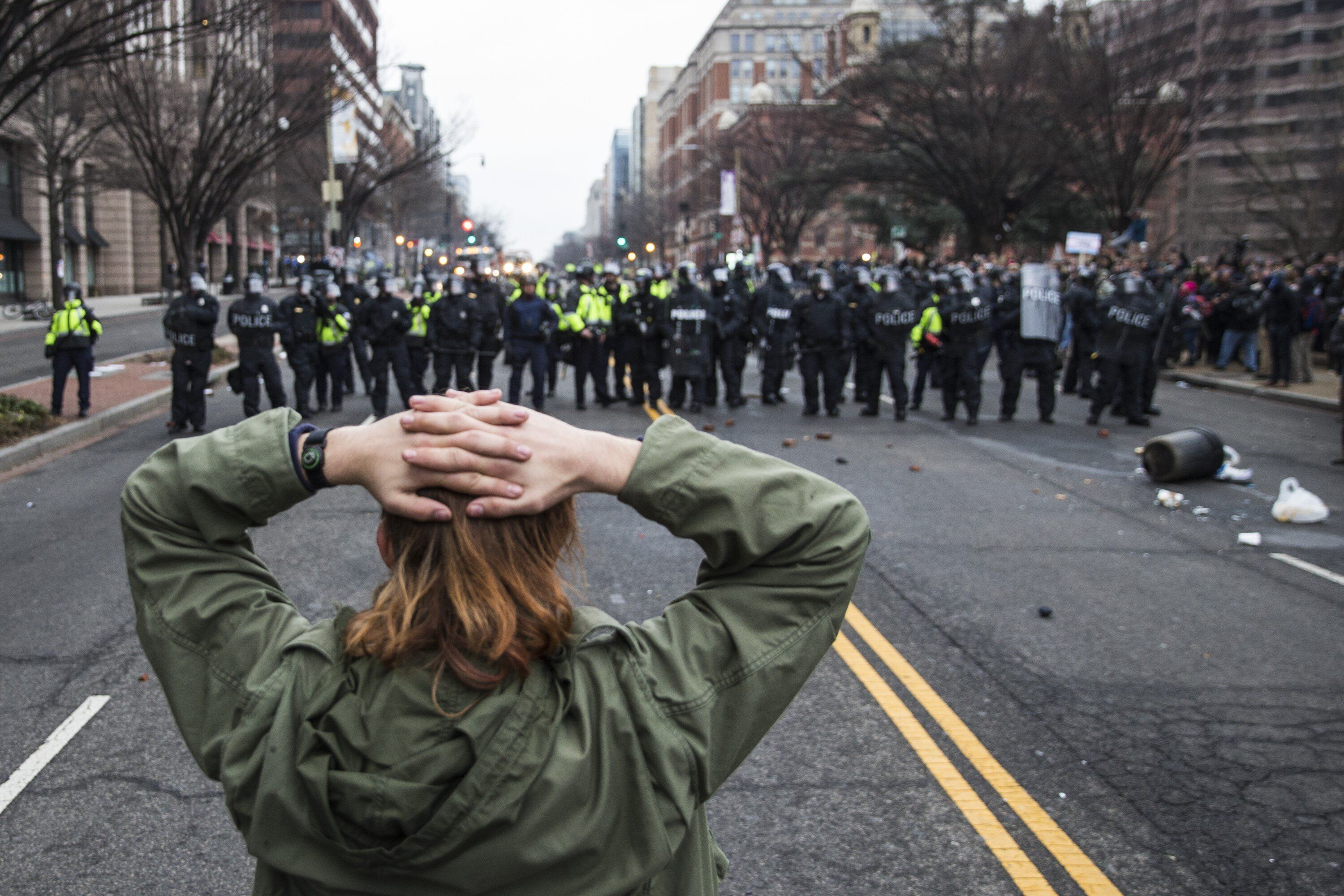 Anti-Trump protesters face off with police after Donald Trump was sworn into office in Washington, D.C. on January 20, 2017.&