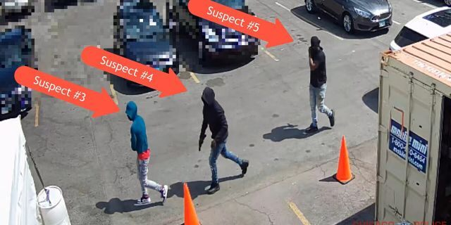 Three of the five suspects wanted in connection with Sunday's pancake house shooting, which killed one person and injured four others (Chicago Police Department via YouTube)